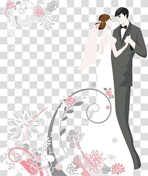 Undangan pernikahan Kue pengantin, ilustrasi pasangan kartun pengantin PNG clipart