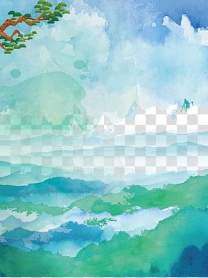 lukisan langit, lukisan cat air u6c34u5f69u98a8u666fu756b, cat air langit biru awan latar belakang laut png