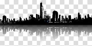 siluet bangunan, ilustrasi skyline cityscape, siluet kota PNG clipart