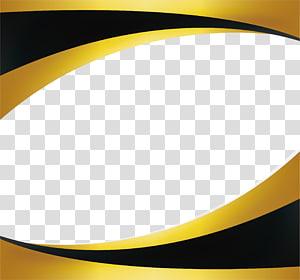 Emas, perbatasan gelombang emas Hitam, bingkai kuning dan hitam png