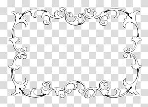 Ornamen Klasik, Latar Belakang Bingkai Perbatasan Antik, bingkai karya seni bunga putih dan hitam PNG clipart