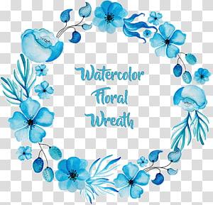 Lukisan cat air Bunga Biru, karangan bunga cat air biru yang indah, karangan bunga bunga cat air PNG clipart