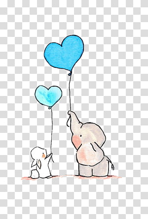 ilustrasi gajah memegang balon jantung, Easter Bunny Little White Rabbit Elephant, ilustrasi Elephant png
