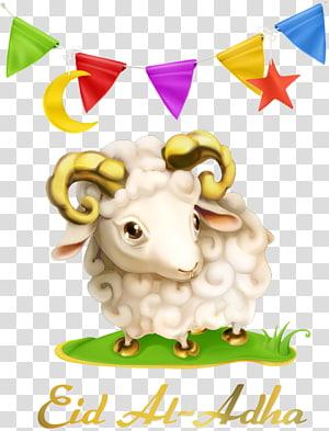 ilustrasi krem domba, Idul Adha Idul Fitri Muslim Idul Fitri Liburan, bendera segitiga dan domba PNG clipart