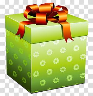 ilustrasi kotak hadiah bunga hijau, Hadiah, Kotak Hadiah Hijau dengan Red Bow png
