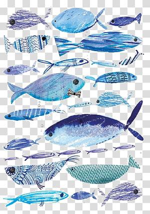 pola cetak ikan, lukisan Cat Air Ilustrasi Menggambar Ikan, Ikan png