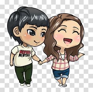 anak laki-laki dan perempuan memegang tangan ilustrasi, Kartun Gambar Cinta Animasi, Anime Love Couple File png