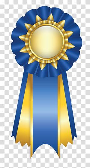 Ribbon Rosette Paper, Blue Rosette Ribbon, korsase biru dan kuning png