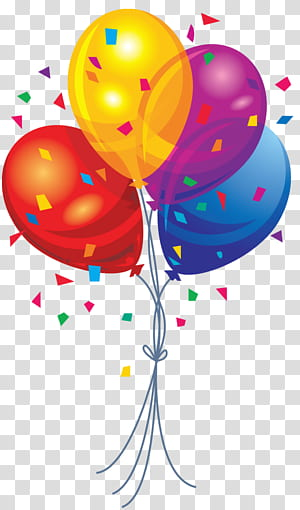 Balon, Balon Multi Warna, ilustrasi balon merah, kuning, ungu, dan biru png