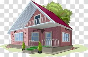 rumah cokelat dan putih di samping ilustrasi pohon, Rumah, asuransi properti rumah png