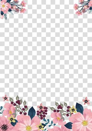 Bunga, Garis merah muda yang dilukis dengan tangan, bingkai bunga merah muda dan hijau dengan latar belakang putih PNG clipart