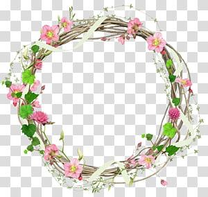ilustrasi bingkai karangan bunga coklat, merah muda, dan hijau, Bunga, bingkai lingkaran PNG clipart