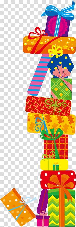 tumpukan kotak hadiah Natal, hadiah ulang tahun png