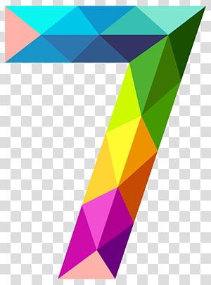 Ikon, Segitiga Berwarna-warni Nomor Tujuh, geometri warna-warni 7 PNG clipart