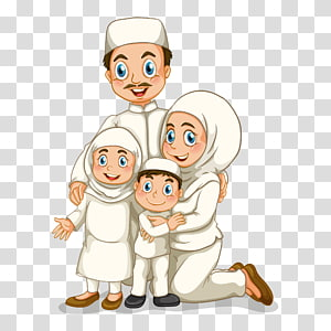 Ilustrasi Keluarga, ilustrasi tokoh keluarga Muslim, ilustrasi keluarga pria, wanita, anak perempuan, dan anak laki-laki PNG clipart