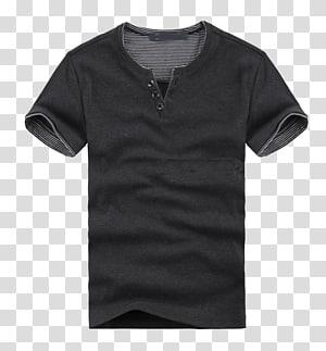 ilustrasi t-shirt henley abu-abu, T-shirt Polo Shirt Sleeve Collar, POLO shirt png