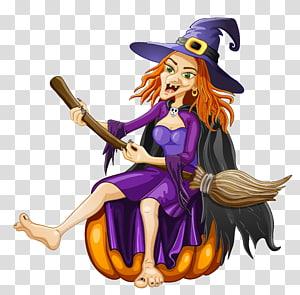 penyihir duduk di ilustrasi labu, Halloween Witchcraft, Halloween Witch dengan Pumpkin png
