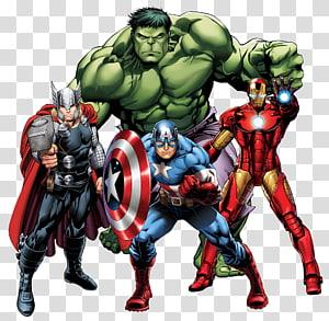 Thor, Captain America, Iron-Man, dan Hulk, Thor Iron Man Marvel Comics Marvel Cinematic Universe buku Komik, AVANGERS png