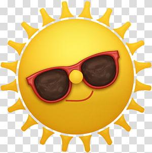 matahari kuning memakai kacamata hitam merah, Ikon Logo, spanduk Musim Panas PNG clipart