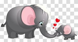 Gambar Kartun Gajah, Lucu Ibu dan Anak Kartun Gajah, dua gajah abu-abu s png