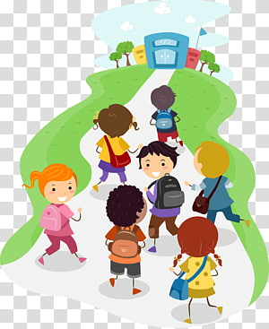 anak-anak berlari menuju ilustrasi sekolah, Sekolah, sekolah PNG clipart