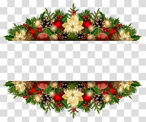 garis borner bunga hijau, coklat, dan kuning, dekorasi Natal, Natal Deco png