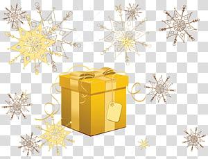 ilustrasi kotak emas dan krem hadiah, hadiah Natal Santa Claus, Hadiah Natal Kuning dengan Kepingan Salju png