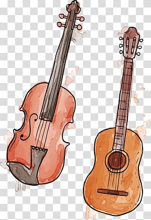 gitar klasik coklat dan biola, Alat Musik lukisan Cat Air Trumpet, bahan latar belakang poster biola musik png