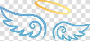 Halo: Master Chief Collection Angel, Sayap malaikat kartun yang dilukis dengan tangan, sayap malaikat biru dengan lingkaran kuning png