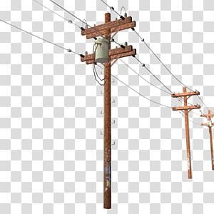 ilustrasi tiang warna coklat, Tiang listrik Saluran listrik overhead Listrik Utilitas listrik, Tiang Telepon s png