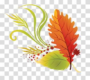 Warna daun musim gugur, Daun Jatuh, ilustrasi daun oranye dan hijau PNG clipart