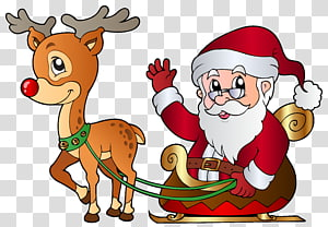 Kereta luncur mengendarai Santa Claus ditarik oleh ilustrasi rusa, Rudolph Santa Claus Christmas Reindeer, Santa dan Rudolph png