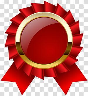 Ribbon Award Medal, Award Rosette Ribbon Clipar, ilustrasi pita merah png