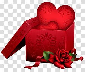 hati dalam kotak hadiah, Hari Valentine Hadiah Jantung, Kotak Hadiah dengan Hati dan Mawar png