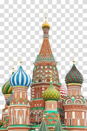 ilustrasi katedral, Saint Basils Cathedral Red Square Moskow Kremlin St. Basils Cathedral, Rumah retro asing PNG clipart