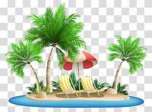 Kepulauan Palm Hawaii, Payung Pantai dengan Kursi dan Pulau Palm, ilustrasi pulau png