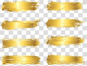 Kuas tinta, kertas emas, delapan garis coklat png