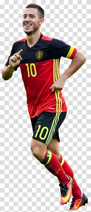 pria berbaju merah dan hitam dan celana pendek 10 jersey hitam, Eden Hazard Belgium tim sepak bola nasional Pemain sepak bola Jersey, Hazard Belgium png