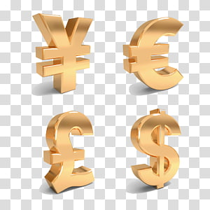 ilustrasi tanda berwarna kuningan, Simbol mata uang Tanda Euro, Simbol Mata Uang Dolar AS png