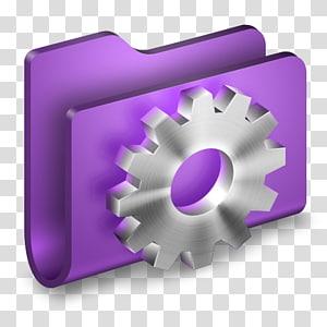 logo pengaturan abu-abu dan ungu, aksesori perangkat keras ungu, Pengembang Folder Ungu png