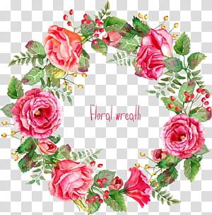Bunga merah muda Euclidean, Indah, perbatasan karangan bunga mawar yang dicat, karangan bunga berwarna merah muda png