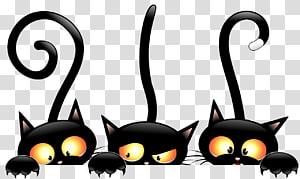 tiga kucing hitam, kucing hitam Halloween, Kucing Penyihir png