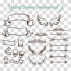 Menggambar Euclidean Ornament Arrow, Tag panah dicat, posting hias digambar tangan png