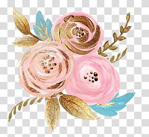 ilustrasi mawar merah muda, Bunga potong Rose Gold, bunga png