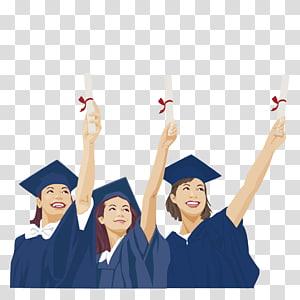 tiga wanita dalam ilustrasi kelulusan jas, Wisuda Mahasiswa Pascasarjana Universitas Estudante, mahasiswa pascasarjana mengambil penghargaan png