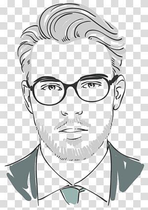 ilustrasi potret pria, Kumis Kacamata Hitam dan Putih Gaya Rambut Barber, Tangan-dicat pria png