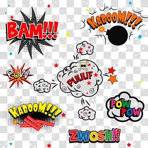 Bam !!dan Kaboom !!!ilustrasi teks, Komik buku Komik, stiker ledakan awan Jamur png