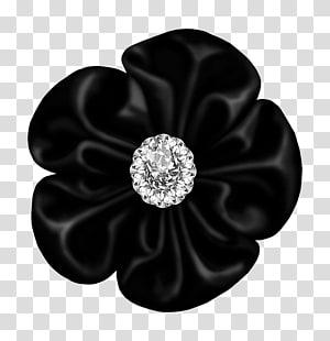 batu permata bening oval dengan latar belakang hitam, Bunga, Busur Bunga Hitam dengan Berlian png