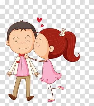 Gadis mencium anak laki-laki di pipi, Ciuman Kartun, pasangan Kartun png