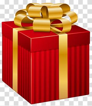 kotak hadiah merah dan kuning, Santa Claus hadiah Natal Kertas, Kotak Hadiah Bergaris Merah png